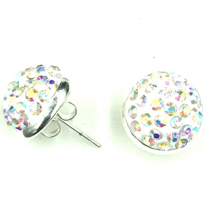 10mm Pave crystal stud earrings - clear AB crystals - silver
